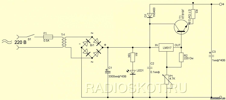 мощный блок питания на транзисторе 0-10а схема